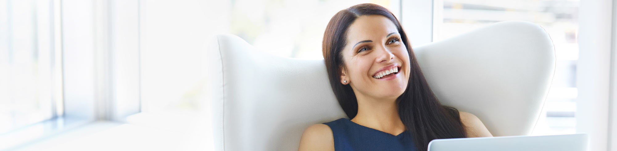 Header banner of Woman looking relaxed